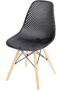 Cadeira Eames Furadinha Cor Preta Com Base Madeira - 50004 - Sun House