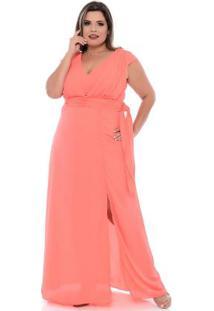 Vestido Rosa Festa Crepe Plus Size