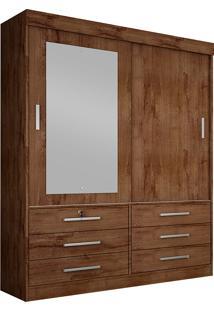 Guarda-Roupa Solteiro Com Espelho 2 Portas Sonare- Novo Horizonte - Canela