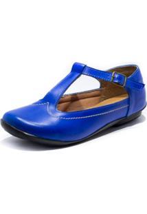 Sapatilha Boneca Couro Tafner Azul Royal