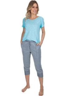 Pijama Capri Com Bolso Twill Feminino - Feminino-Azul