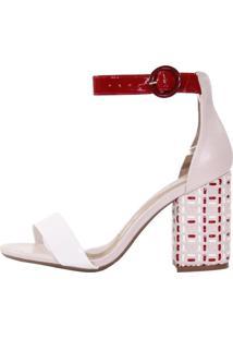 Sandália Week Shoes Salto Grosso Tresse Tricolor Creme/Vermelho/Branco