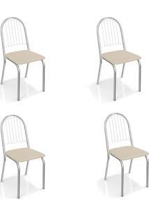 Conjunto Com 4 Cadeiras De Cozinha Noruega Cromado E Nude