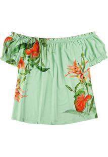 Blusa Verde Ciganinha Tropical