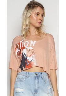 Camiseta Triton Estampada Feminina - Feminino-Nude