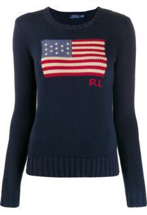 Polo Ralph Lauren Suéter Com Bandeira U.S.A. - Azul