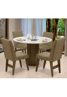 Conjunto De Mesa Para Sala De Jantar Com 4 Cadeira Turim-Dobue - Castanho / Branco Off / Mascavo Vlp Bordado