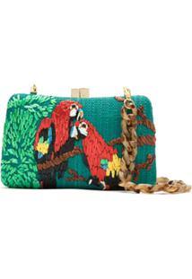 Serpui Clutch De Palha Bordada - Verde