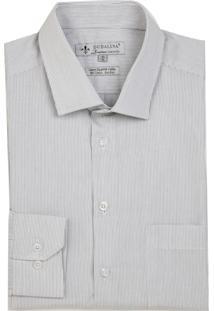 Camisa Dudalina Manga Longa Luxury Fio Tinto Maquinetado Listrado Masculina (Marrom Medio, 42)