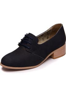 Sapato Azul Marinho Em Couro -Abufulado Marinho - Slin 3007