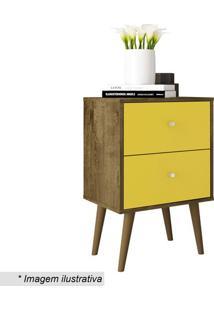 Criado Mudo Com Gaveta- Rústico & Amarelo- 68,8X45X3Bechara