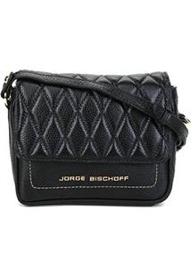 Bolsa Couro Jorge Bischoff Mini Bag Matelassê Feminina - Feminino-Preto
