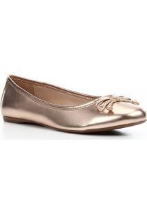 Sapatilha Shoestock Metalizada Laço Feminina - Feminino-Cobre