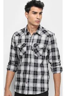 Camisa Xadrez Manga Longa Calvin Klein Bolsos Logo Masculina - Masculino-Preto