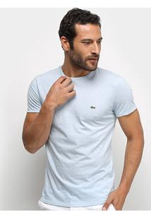 Camiseta Lacoste Básica Jersey Masculina - Masculino-Azul+Branco
