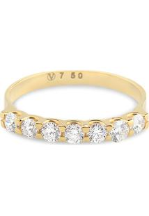 Meia Aliança Ouro Amarelo E Diamantes