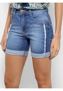 Bermuda Jeans Biotipo Estonada Lateral Desfiada Barra Dobrada Feminina - Feminino