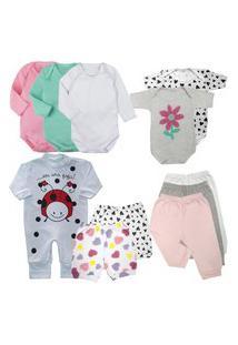 Kit 11 Peças Roupa Bebê Confortável Bonita Estilosa Enxoval Rosa