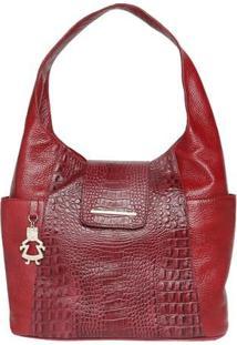 Bolsa Em Couro Com Textura Croco- Vermelha- 28X34X13Di Marlys