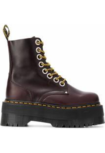 Dr. Martens Ankle Boot Jadon De Couro Com Plataforma - Vermelho