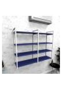 Estante Industrial Escritório Aço Cor Branco 120X30X98Cm (C)X(L)X(A) Cor Mdf Azul Modelo Ind42Azes