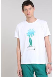 Camiseta Masculina Com Estampa De Coqueiro Manga Curta Gola Careca Branca