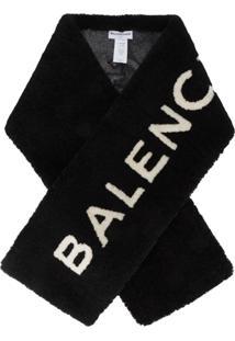 Balenciaga Echarpe Com Pele E Logo - Preto