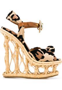 Dolce & Gabbana Sandália Plataforma Com Estampa De Leopardo E Aplicações - Neutro