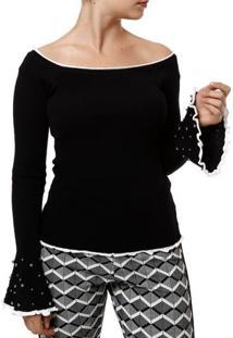 Blusa De Tricot Feminina Preto/Branco