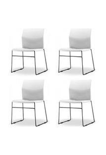 Kit 4 Cadeiras Connect Assento Branco Base Fixa Preta - 57594 Branco