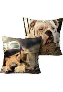 Kit 2 Capas Para Almofadas Decorativas Dogs Sleepers 35X35Cm