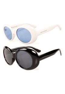 Promoçáo Kit 2 Óculos De Sol Femininos Prorider Clássico Branco E Petro - Kittitania4F