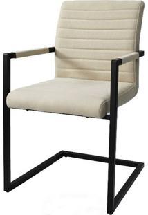Cadeira Ferrara Bege Com Braco Base Aco Preta - 59514 - Sun House