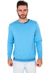 Blusa G'Dom Azul Com Cotoveleiras E Botões