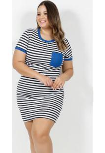 Vestido Curto Listrado E Azul Bolso Plus Size