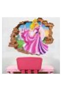 Adesivo De Parede Buraco Falso 3D Princesa Aurora 02 - G 82X100Cm
