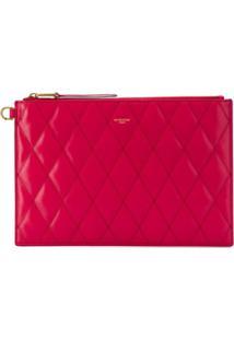 Givenchy Clutch Matelassê Média Com Logo Gravado - Vermelho