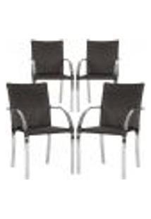 Cadeiras 4Un Para Area Varanda Fibra Sintetica Sala Cozinha Jardim Sacada Madri - Tabaco