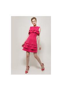 Vestido Pink Babados Golden Dress.