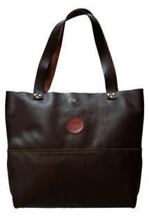 Bolsa Line Store Leather Shopping Bag Marrom Escuro