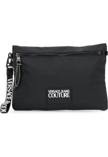 Versace Jeans Couture Clutch Com Patch De Logo - Preto