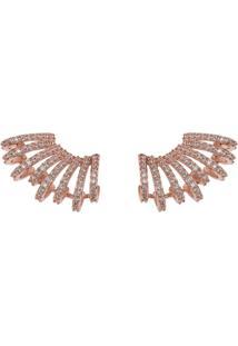 Brinco Earcuff The Ring Boutique Cravejado De Zircônias Em Ouro Rosé