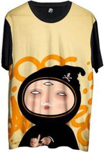 Camiseta Bsc Desenho Ninja La Masculina - Masculino-Amarelo