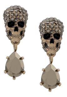 Alexander Mcqueen Par De Brincos Skull Com Cristais - Dourado