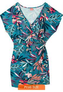 Macaquinho Azul Tropical Decote V