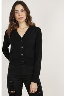 Cardigan Feminino Básico Cropped Em Tricô Preto