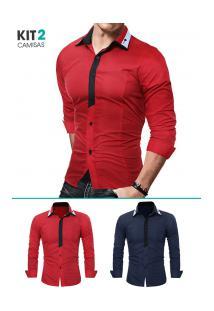 Kit 2 Camisas Sociais Masculina Slim Fit Manga Longa - Azul Marinho E Vermelho