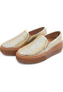 Slip On Flatform Perfuros Touro Boots Feminino Dourado - Kanui