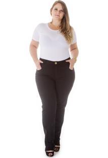 Calça Jeans Confidencial Extra Reta Cintura Alta Preto