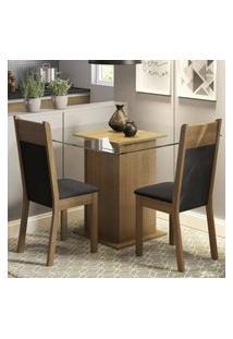 Conjunto Sala De Jantar Madesa Lau Mesa Tampo De Vidro Com 2 Cadeiras Rustic/Preto/Sintético Preto